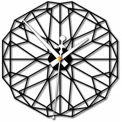 Geometryczny zegar ścienny Sentop wykonany ze sklejki drewnianej FPL PR0346 I czarny