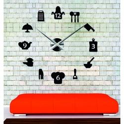 Sentop - duży nowoczesny zegar ścienny naklejany do kuchni i czarny SZ066