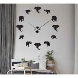 Sentop - Nowoczesny zegar ścienny naklejany na ścianę słonia i złota SZ070