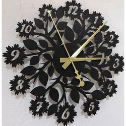 Sentop - zegar ścienny wykonany z drewnianej sklejki kwiatowej PR0343 i czarnej