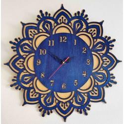 Sentop - Drewniany zegar ścienny - model: buk / niebieski DAWN