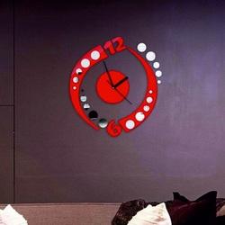 Hodiny hojnosti. Nalepovacie zrkadlové hodiny červené .