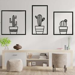 Stylový třídílný obraz na stěnu - KAKTUSY | SENTOP