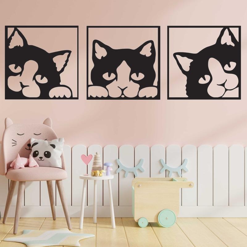 Obraz na ścianie kota wykonanego z kolorowej drewnianej sklejki