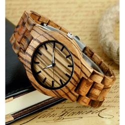 Drewniany zegarek żebrowane brązowy. TIEDAN