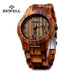 Holz Armbanduhr braun Nussbaum gerippt. Bewell