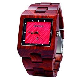 Drewniany zegarek ciemnoczerwony Jane. Bewell