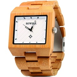 Drewniany zegarek jasnobrązowy George. Bewell