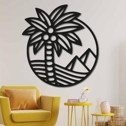 Drewniany obraz na ścianie palmy na plaży - MALLAWI | SENTOP