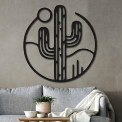 Drewniany obrazek na ścianie kaktusa ze słońcem - NIAMEY | SENTOP