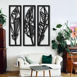 Nowoczesny trzyczęściowy obraz liści bananowca - MUSACEAE | SENTOP