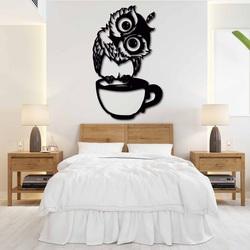 Śliczny obrazek na ścianie sowa w filiżance - ROZÁLKA | SENTOP