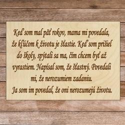 Drewniany napis z tekstem - Klucz do życia | SENTOP