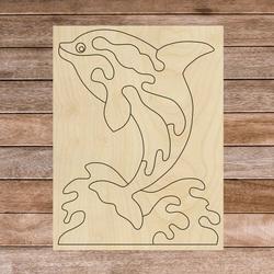 Drewniana pomoc sensoryczna Montessori - Delfin   SENTOP H015 Topola