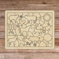 Drewniana pomoc sensoryczna Montessori - Zwierzęta gospodarskie   SENTOP H018 Topola
