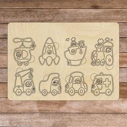 Drewniana wkładka Montessori - Pojazdy   SENTOP