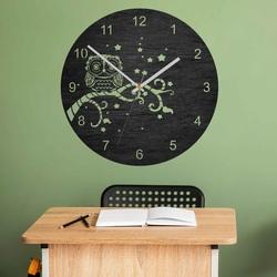Drewniany zegar ścienny - Sowa - naturalny i kolorowy | SENTOP PR0443