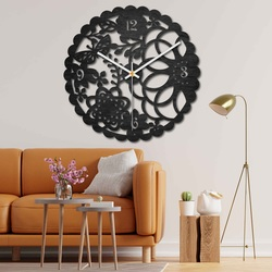 Drewniany zegar ścienny - motylkowa łąka - czarny i kolorowy | SENTOP PR0445
