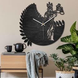 Zegar znak zodiaku - Waga - czarny i naturalny | SENTOP PR0447