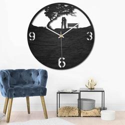 Drewniany zegar - para w parku - naturalny i kolorowy | SENTOP PR0448