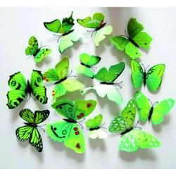 3D   Dekoracyjne motyle Zielony - 1 opakowanie zawiera 12 sztuk