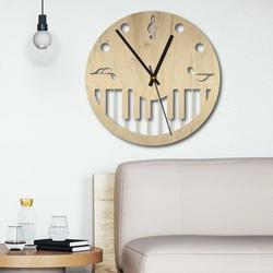 Drewniany zegar ścienny - Nuty czarno-kolorowe SENTOP PR0453