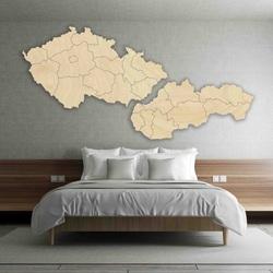 Mapa ścienna - Czechy i Słowacja - drewno