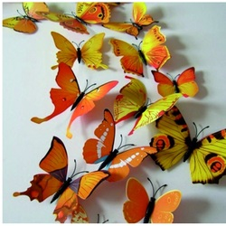 3D Naklejka - Żółte kolorowe motyle - 1 opakowanie zawiera 12 sztuk