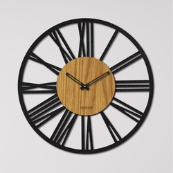 Zegar ścienny z drewnianych cyfr rzymskich - dąb