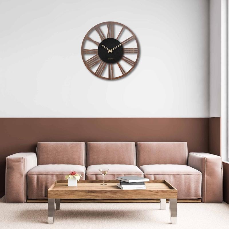 Drewniany zegar ścienny z cyframi rzymskimi - Sentop | orzech wenge