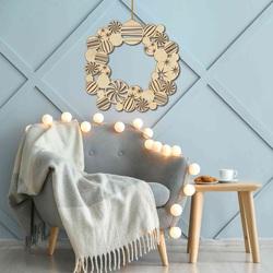 Świąteczna dekoracja drewniana na ścianie | Wieniec