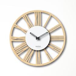 Drewniany zegar ścienny z cyframi rzymskimi - Sentop | klon