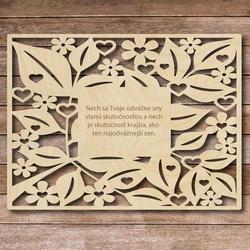 Drewniany napis z tekstem - śmiałe sny - do 60 x 80 cm