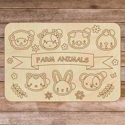 Drewniane pudełko dziecięce - Zwierzęta hodowlane 7 sztuk | SENTOP H002