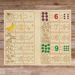 Puzzle drewniane dla dzieci - Układanka trzyczęściowa 30 sztuk | SENTOP H004