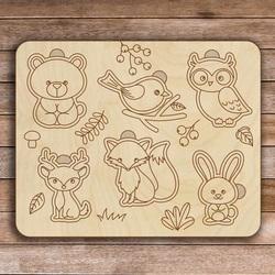 Drewniana wkładka dziecięca - Leśne zwierzęta 6 sztuk | SENTOP H005