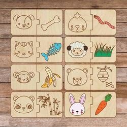 Puzzle drewniane dla dzieci - Zwierzęta i jedzenie - 16 sztuk | SENTOP H007