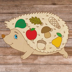Drewniane puzzle dla dzieci - Jeż w lesie - 7 sztuk | SENTOP H008
