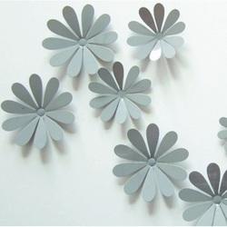 3D kwiaty trzymać na ścianie - Szary - 1 opakowanie zawiera 12 sztuk