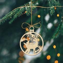 Ozdoba świąteczna Jeleń wykonana z drewna, rozmiar: 79x90 mm PR0009