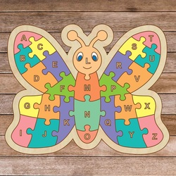 Drewniane puzzle dla dzieci - Alfabet motyl A-ZET 26 sztuk | SENTOP