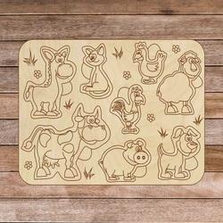 Puzzle drewniane dla dzieci - Zwierzęta gospodarskie 8 sztuk | SENTOP