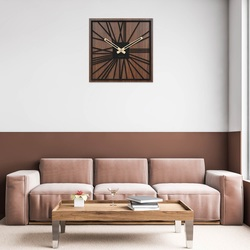 Drewniany zegar ścienny - Sentop | HDFK031 | orzech wenge