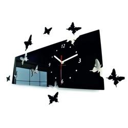 Motyl stylowy zegar ścienny. Kolor czarny. Wielkości 60 x 49 cm