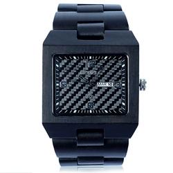 Drewniany zegarek czarny Tomás. Bewell