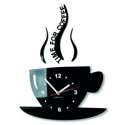 Zegar ścienny kawy i odpocząć. Kolor czarny. Wielkości 36 x 32 cm