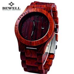 Drewniany zegarek czerwonych Bewell