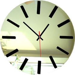 Zegar ścienny Lustro - srebrny: lustro, czarny