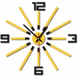 Zegar kolorowy 3D WARRAS, kolor: czarny, żółty