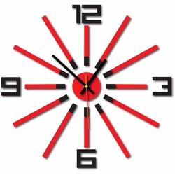 3D kolorowy zegar ścienny WARRAS, kolor: czarny, czerwony